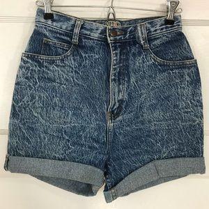 Vintage Acid-Wash High Waisted Denim Shorts